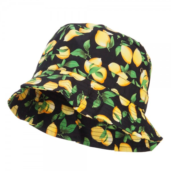 Women s Fruit Motif Bucket Hat - Lemon Black  27.99 ... c3a28647e5b