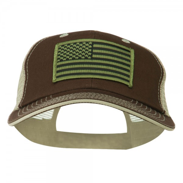 Subdued American Flag Patched Big Size Washed Mesh Cap - Brown Beige 18b707b59