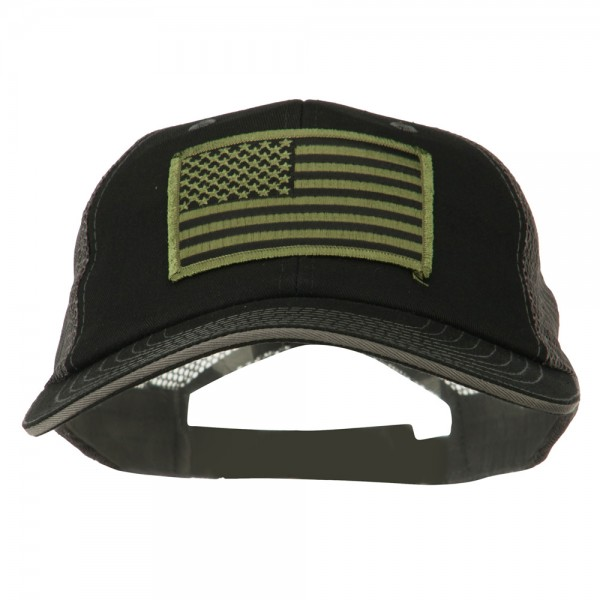 Embroidered Cap - Black Grey American Flag Patch Big Mesh Cap ... 5e3dfe043ee