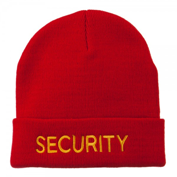 f163af88a Security Embroidered Long Knitted Beanie - Red