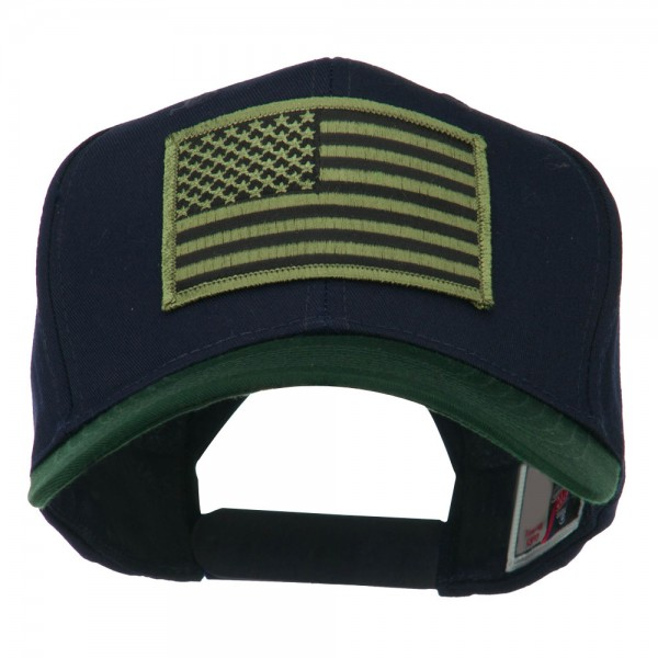 Embroidered Cap - Green Navy American Flag Patch Two Tone Cap    e4Hats d696e531a14