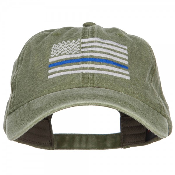 22.99 Thin Blue Line Silver USA Flag Embroidered Washed Cap - Olive Green   22.99 ... 4d9eb0f2df0