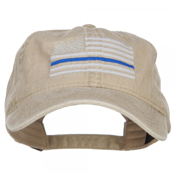 4ad3d60059a73c $22.99 Thin Blue Line Silver USA Flag Embroidered Washed Cap - Khaki $22.99
