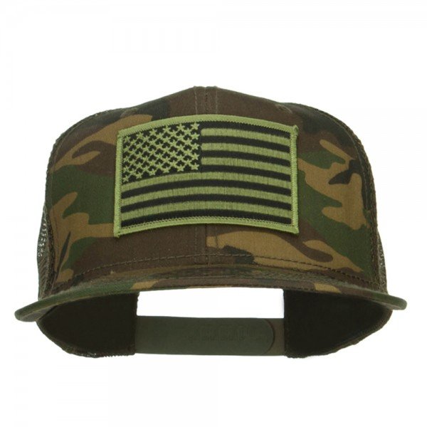 Embroidered Cap - Camo Olive Subdued American Flag Patched Camo ... 623468f5153
