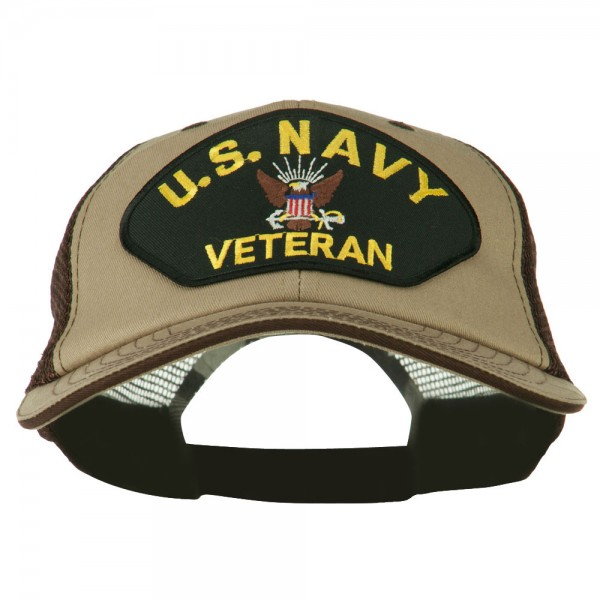 US Navy Veteran Military Patched Big Size Washed Mesh Cap - Khaki Brown ...