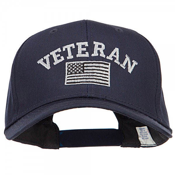 464afdff249a Embroidered Cap - Navy Veteran Silver Flag Embroidered Cap    e4Hats