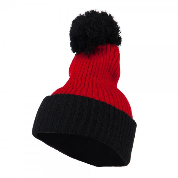 f7405ad9ed9  18.49 Two Tone Vertical Ribbed Pom Beanie - Red Black  18.49 ...