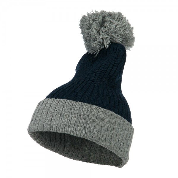 3a7a05550d12 Beanie - Navy Grey Two Tone Vertical Ribbed Beanie | Coupon Free ...