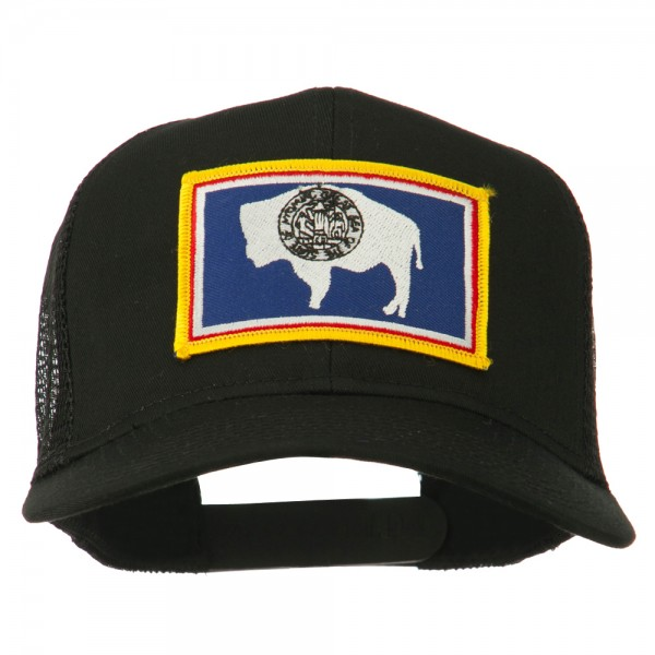 Embroidered Cap - Black Wyoming Flag Patched Mesh Cap  e7424b9cf