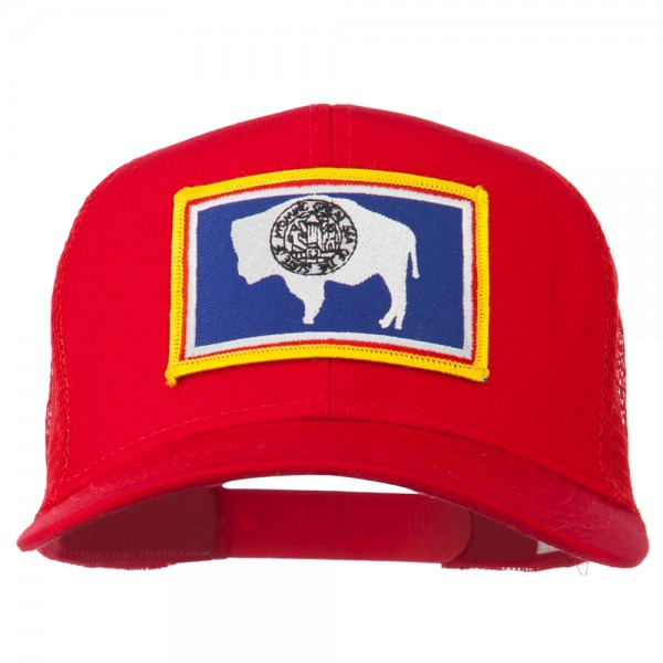 Wyoming State Flag Patched Mesh Cap - Red