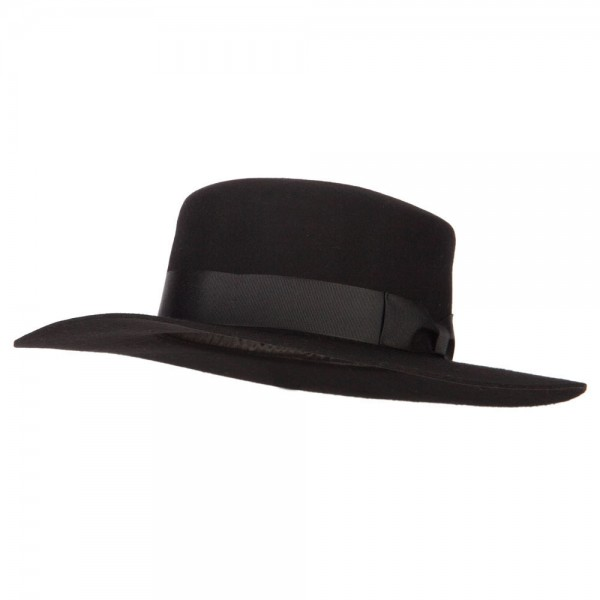602f35d6c Women's Wool Felt Wide Satin Ribbon Trim Bolero Fedora Hat - Black
