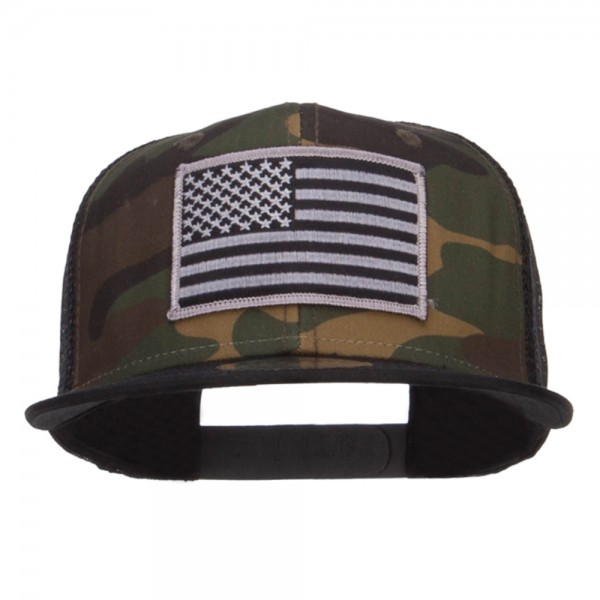 Embroidered Cap - Black Camo Grey American Flag Patched Camo Mesh ... 97dbab36ef6