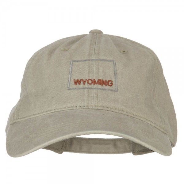 Wyoming with Map Outline Embroidered Washed Cotton Twill Cap - Stone