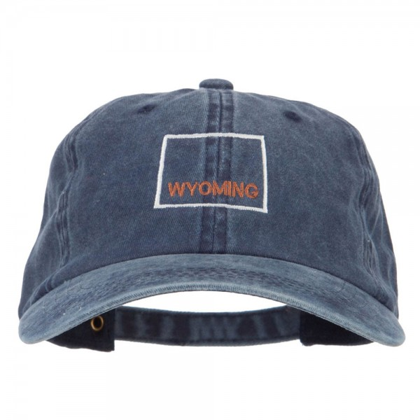 Wyoming with Map Outline Embroidered Washed Cotton Twill Cap - Navy