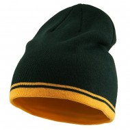 Acrylic Cotton Striped Knit Beanie-Green Gold