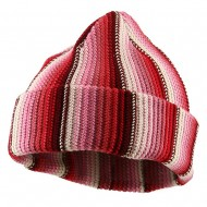 Crocheted Cuff Knit Beanie - Red