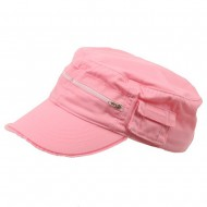 Zippered Enzyme Army Cap-Pink Solid