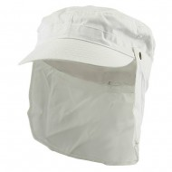 Army Cap with Flap-White