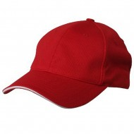 Jersey 6 Panel Athletic Mesh Cap-Red