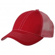 Low Profile Structured Trucker Cap-Red Pink