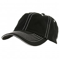 Low Profile Cotton Twill Washed Cap - Black White