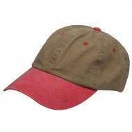 Pigment Dyed Wash Caps-Khaki Red