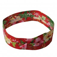 Pleated Palm Tree And Flower Hat band-Red