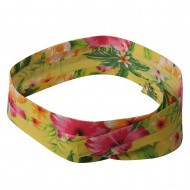 Pleated Palm Tree And Flower Hat Band-Yellow