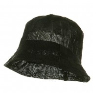 Mesh Checker Bucket Hat-Black