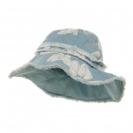 Print Canvas Ladies Hat-Lt Blue