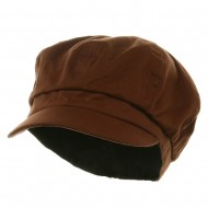 Cotton Elastic Newsboy Cap-Brown