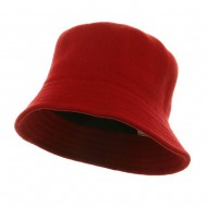 Wool Bucket Hat with Stitches-Red