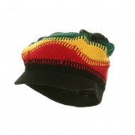 Long Rasta Beanie Visor Hat #81-Black RGY