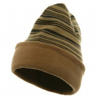 Reversible Fleece Beanie - Camel