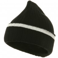 Knit with Cuff and Stripe - Black White