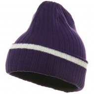 Knit with Cuff and Stripe - Purple White