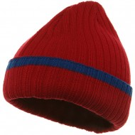 Knit with Cuff and Stripe - Red Royal