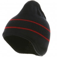 Two Tone Ear Flap Beanie-Navy Red