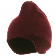 Acrylic Fleece Knit Beanies-Maroon