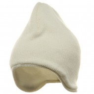 Acrylic Solid Knit Beanies-White