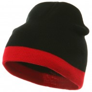 Fine Guage Two Tone Knitting Cap-Black Red