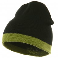 Fine Guage Two Tone Knitting Cap-Black Green