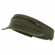 Enzyme Washed Cotton Twill Visor-Olive