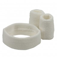 Solid Color Head and Wrist Band Set-White