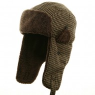 Big Size Tweed Sherpa Lining Trooper Hat-Brown