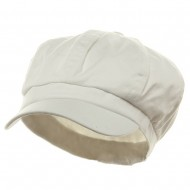 Cotton Elastic Newsboy Cap-White
