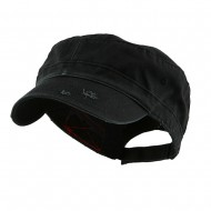 Enzyme Frayed Solid Army Caps-Black