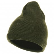 Fleece-Lined Plain Beanie - Olive