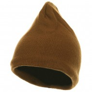 Fleece-Lined Plain Beanie - Camel