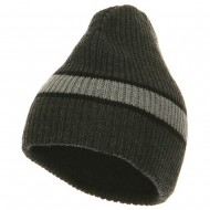 Center Stripe Beanie - Charcoal Grey